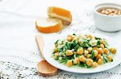 picture of chickpea  - chickpeas and spinach curry on a white background - JPG