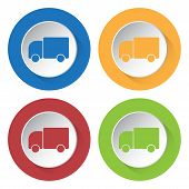 picture of lorries  - set of four colored icons with lorry car and stylized shadows - JPG