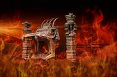 picture of hell  - Illustration of the hell gate in flames - JPG