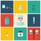 stock photo of enema  - Medical flat icon set with doctor - JPG