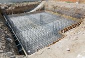 image of reinforcing  - Foundation of a new house with reinforced concrete - JPG