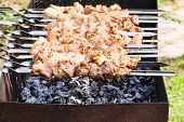 stock photo of kebab  - skewers with pork shish kebabs on grill with hot charcoal - JPG