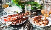 pic of kebab  - dinner table with shish kebabs and vegetables - JPG