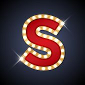 image of letter  - Vector illustration of realistic retro signboard letter S - JPG