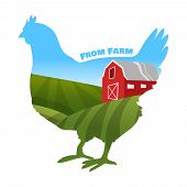 picture of farm  - Hen with farm background inside - JPG