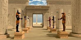 pic of pharaohs  - Egyptian statues of Bastet Anubis Atum Hathor Ra and Seth stand guard in Pharaoh - JPG
