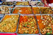 pic of chinese food  - variety of thai food in fresh market Asia Thailand - JPG