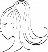 stock photo of teen pony tail  - Girl with long ponytail - JPG