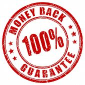 Money back 100 guarantee stamp poster