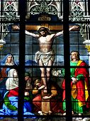 foto of stained glass  - A depiction of Jesus on the cross on a church window - JPG