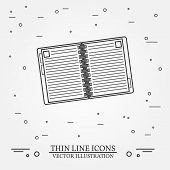 Notebook Thin Line Design. Notebook Pen Icon. Notebook Pen Icon. Notebook Pen Icon Drawing. Notebook poster