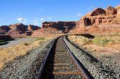 picture of potash  - Potash Railroad through Sandstone Canyon in Utah - JPG