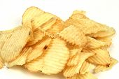 foto of potato chips  - pile of potato chips on a white background - JPG