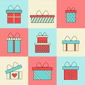 Present box isolated icons on colored background. poster