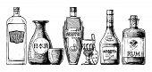 Bottles Of Alcohol. Distilled Beverage. poster