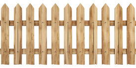 stock photo of wooden fence  - a wooden fence isolated on white including clipping path - JPG