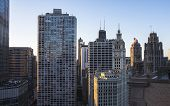 Chicago Skyline. Chicago Downtown Skyline At Dusk. poster