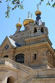 stock photo of church mary magdalene  - Russian Orthodox church of Mary Magdalene at the Mount of Olives in Jerusalem - JPG