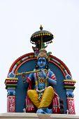pic of lord krishna  - Krishna Statue at the Sri Mariamman Temple Singapore - JPG