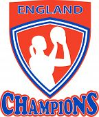 stock photo of netball  - illustration of a netball player shooting ball set inside shield with words England Champions - JPG