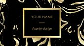 Elegant Black Luxury Business Cards With Marble Texture And Gold Detail Template, Banner With Golden poster