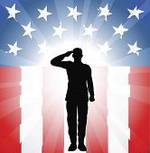 picture of soldier  - A patriotic soldier saluting in front of an American background - JPG