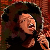 stock photo of singer  - Vector illustration of an afro american jazz singer on grunge background - JPG