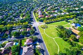Summer Houses And Homes In Real Estate Development Modern Living In Suburb Suburbia Perfect Summer L poster