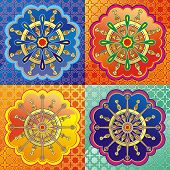 picture of dharma  - Set of Dharmacakra - dharma wheel with lotus.