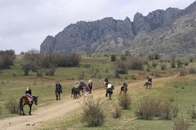 foto of open grazing area  - The group of horsemen going to mountains - JPG