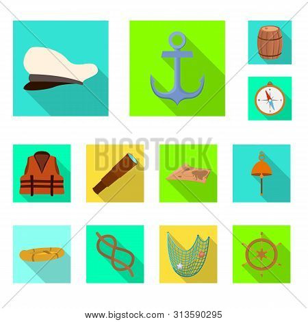 poster of Vector Illustration Of Journey And Seafaring Icon. Collection Of Journey And Vintage Stock Vector Il