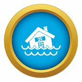 House Sinking In A Water Icon Blue Vector Isolated On White Background For Any Design poster