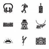 Hip Hop Icon Set. Simple Set Of 9 Hip Hop Vector Icons For Web Design Isolated On White Background poster
