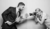 Picky And Curious. Girl Photographer Capture Every Tiny Dust. Focused On Dust. Attentive Reporter Ca poster