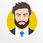 Male Face Avatar. Man With Beard In The Suit, Shirt And Necktie Portrait. Businessman Icon. Vector I poster