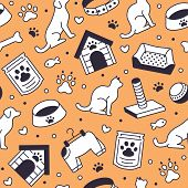 Pet Shop Vector Seamless Pattern With Flat Line Icons Of Dog House, Cat Food, Food Bowl, Puppy Toys, poster