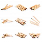 Set Of Color Wooden Pencils Isolated On White Background. Natural Color. Art And Hobby Tools, Set Of poster