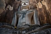 Huge 11 M Wide And 15 M High Seated Buddha In Wat Si Chum  In Famous Sukhothai Historical Park, A Un poster