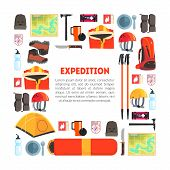Expedition Equipment Banner Template With Place For Text, Hiking, Camping And Mountaineering, Travel poster