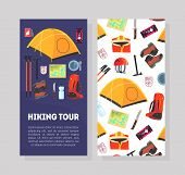 Hiking Tour Card Template With Place For Text And Expedition Equipment Pattern, Hiking, Camping And  poster