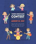 Young Musicians Contest Banner Template With Space For Text, Kids Singers And Musicians With Differe poster