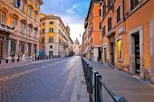 Colorful Empty Street Of Rome Dawn View, Eternal City And Capital Of Italy poster
