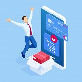 Isometric Delivery App Isometric Website Template. Online Shopping Banner, Fast Delivery Service. Wo poster