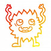 warm gradient line drawing of a cartoon funny furry monster poster