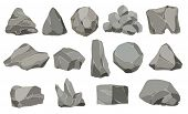 Rock Stones. Graphite Stone, Coal And Rocks Pile For Wall Or Mountain Pebble. Gravel Pebbles, Gray S poster