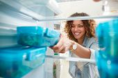 View Looking Out From Inside Of Refrigerator As Woman Takes Out Healthy Packed Lunch In Container poster
