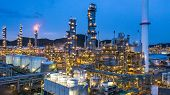 Aerial View Petrochemical Plant And Oil Refinery Plant Background At Night,  Petrochemical Oil Refin poster