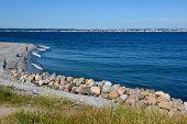 Helsingor, Denmark - 28 June 2019: The Coast Of Helsingor In Denmark With View To Helsingborg On Swe poster