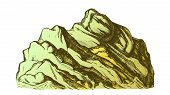 Color Summit Of Mountain Landscape Hand Drawn . High Altitude Mountain Rock Peak Quiet Place For Ext poster