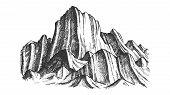 Peak Of Rocky Mountain Landscape Monochrome . Mountain Versant Rock Peak Felsenwand Adventure Wilder poster